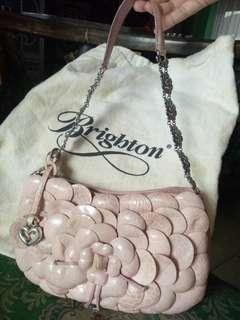Brighton Roselie 3D Flower Pink Leather Shoulder Bag