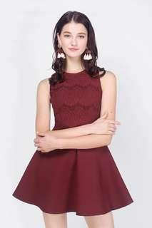 Fayth Asthea Lace Swing Dress (Burgundy)