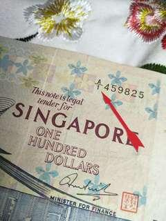 A/1 old sg $100 brid notes