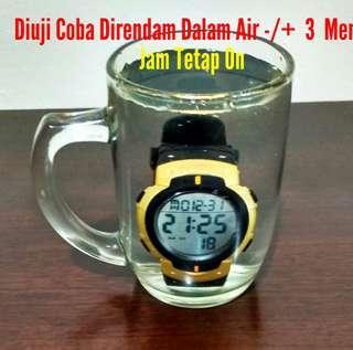 """Jam Tangan Pria SKMEI Digital Military Sport 1068 Original, """"Warna Black/Gold"""", Bonus Kotak Jam Exclusiv"""""""