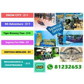 Special Offer - Snow City / 4D Adventure / Tiger Brewery Tour / Segway Fun Ride/ MERLION