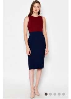 Love and bravery Josetti Colourblock dress wine