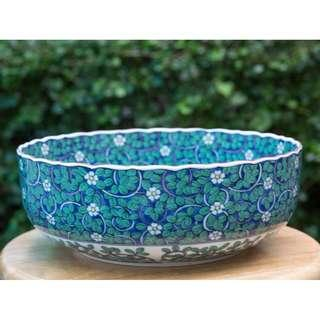 Large Green Bowl 10 inches diameter, 4 inches height.