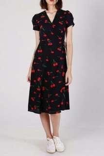 Cherry Midi Wrap Dress