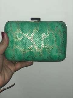 Turquoise Clutch with sling straps