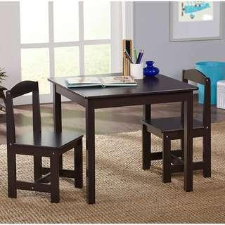 Hayden Kids 3-Piece Table and Chair Set, Brown Furniture