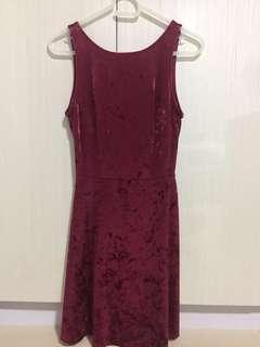H&M Maroon/ Red Velvet Dress