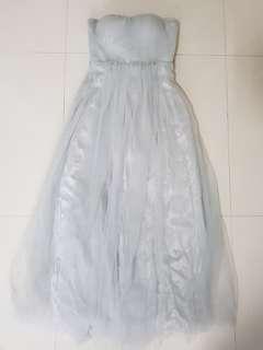 Convertible light grey chiffon tube dress