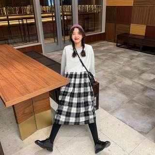 korean ulzzang checkered plaid dress