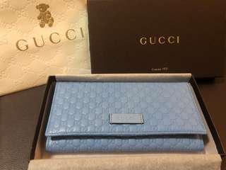 全新 Gucci 粉藍色 真皮壓紋 長銀包