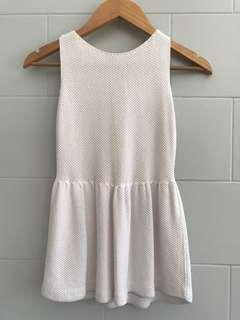 ZARA Off-White Knitted Sleeveless Peplum Blouse