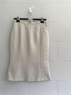 Light Grey Plaid Fit & Flare Midi Pencil Skirt