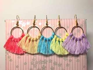 Pastel tassle earrings (handmade)
