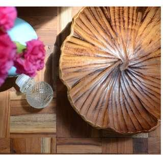 Large Wooden carved Bowl 10 inches diameter, 3 inches height
