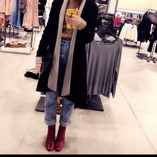 Zara 雙色厚實密針織外套s號