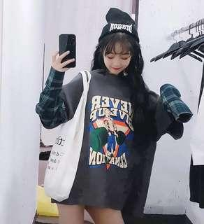 """ulzzang oversized """"never give up"""" double layer flannel graphic tee"""