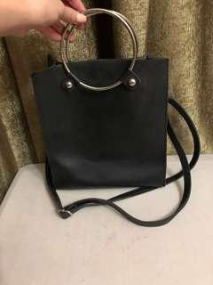 Black Leather Bag with Metal Handle