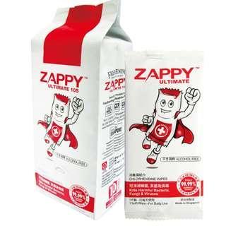 [熱賣]Zappy無酒精消毒濕紙巾(獨立包裝,一袋十包)