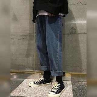 🚚 【 Gshop.】寬鬆復古男士牛仔褲個性直筒褲