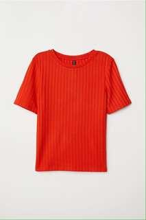 Ribbed top orange h&m
