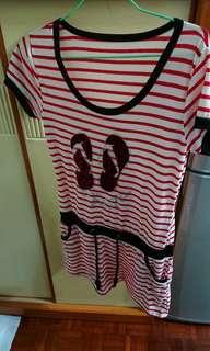 紅白間條連衣裙