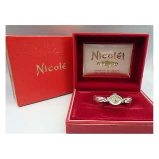 {HK 藏珍舖} Nicolet Swiss 10K RGP 17J with 2 Diamonds lady Watch w/Box