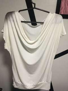 White cow neck blouse and off shoulder