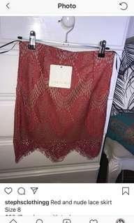 Red and nude lace skirt