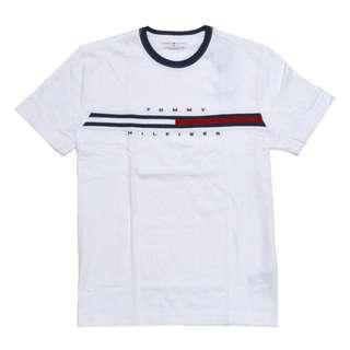 Tommy Hilfiger Classic Logo T-shirt Top in White Navy Collar