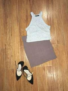 BNWOT FOREVER 21 Dark Nude Brown Highwaist Bodycon Pencil Skirt