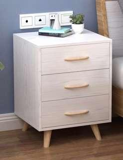 Wooden bedside table with 3 shelves and legs