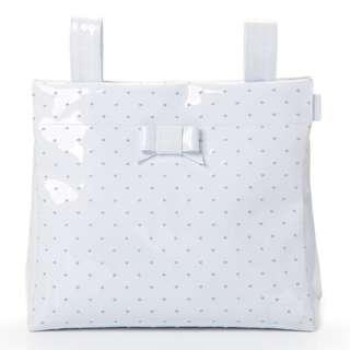 Branded Pasito A Pasito Small Changing Bag White Leather – Embroidered Polka Dot Blue