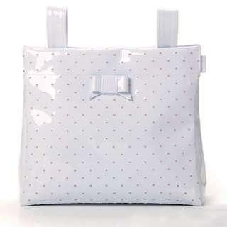 Braded Baby Bag Pasito A Pasito Small Changing Bag White Leather – Embroidered Polka Dot Pink