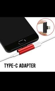 2in1 Type C adaptor for charger n 3.5mm ear piece AUX jack