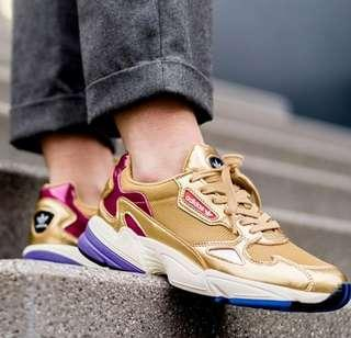 [READY STOCK ] Authentic Adidas Falcon in Gold UK6