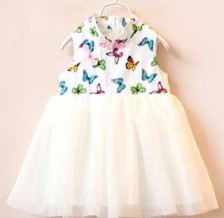 🚚 【BABYWEAR】【CLOTHING】【GIRL】CNY05 CHILDREN BABY GIRL MODERN CHEONGSAM BUTTERFLIES TULLE DRESS