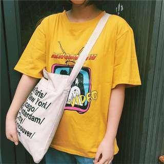 Instocks Yellow Oversized Aerosmith Ulzzang Tee
