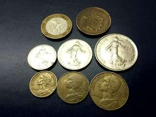 Old France Coin Set 10F to 10 Cent
