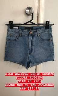 HIGH WAISTED DENIM SHORTS -STONE BLUE COLOUR
