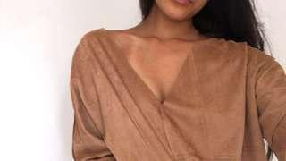 BEIGE Faux Suede Top
