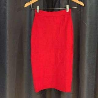 Red Bandage midi skirt
