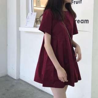 #724 Babydoll Basic Wine Red/Black Dress