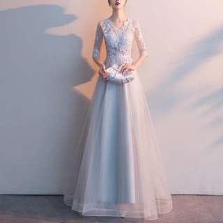 Grey / black lace elegant dress / Evening Gown
