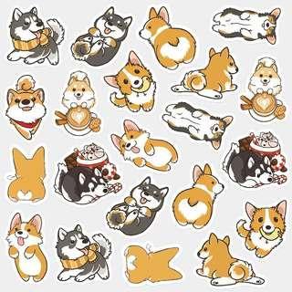 🚚 Cute Corgi and Husky Stickers