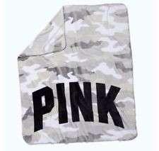 Victoria's Secret Pink Camouflage Camo Fleece Throw Blanket