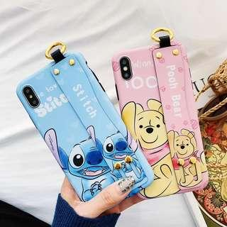 4 Designs Disney Inspired Cartoon Characters TPU Soft Shell Mobile Hand Cell HP Phone Case Casing Cover Sleeve w/ Hand Grip - Apple IPhone 6 6S 7 8 Plus + X Xr Xs & Max - Winnie the Pooh Stitch Mickey Minnie Mouse