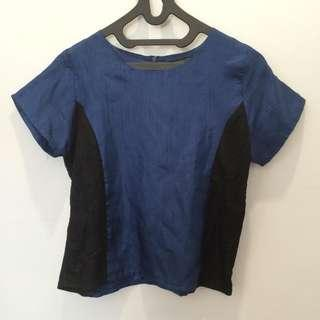 Mission72 Navy Blue Blouse with black lace #bersihbersih