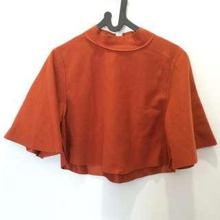Korean Cape Blouse / Bat Wing Orange Brick Colour #bersihbersih