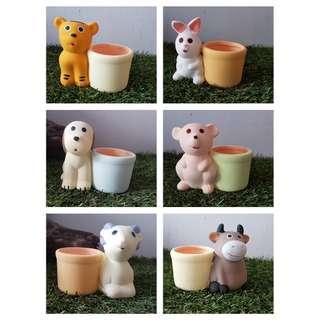 CNY Special!! 12 Zodiac Cute Flower Pots in a Set