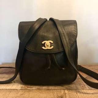 Authentic Chanel Caviar Backpack w 24k Gold Hardware